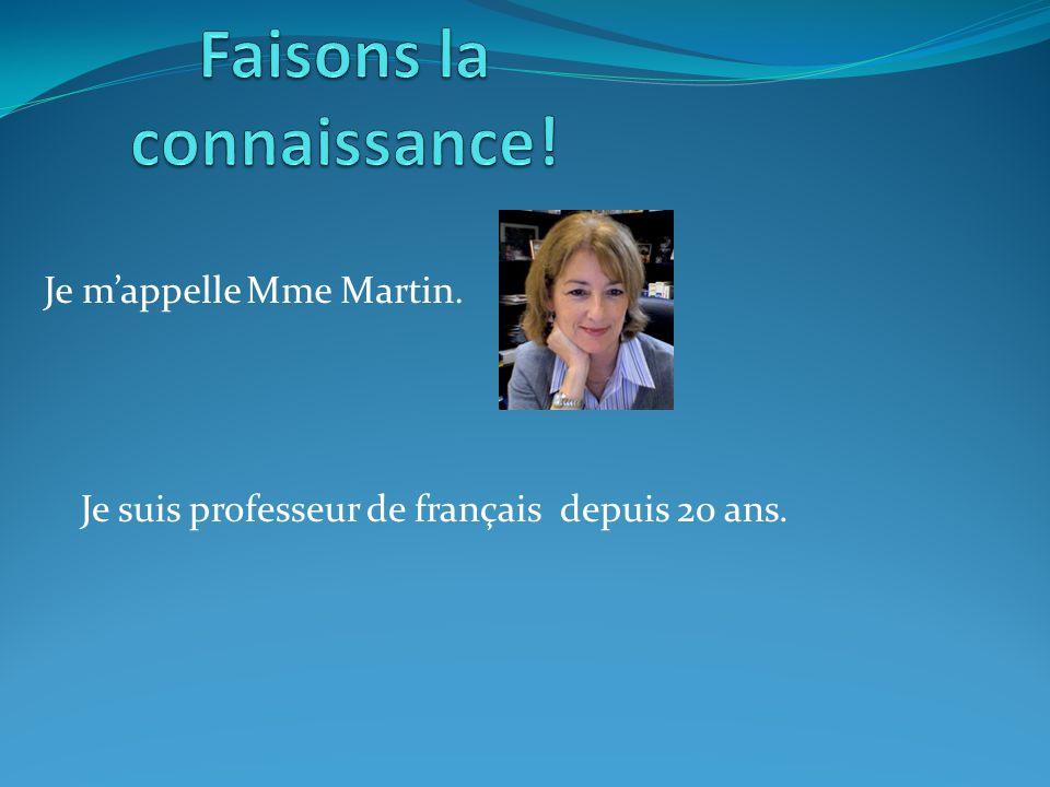 Je mappelle Mme Martin. Je suis professeur de français depuis 20 ans.