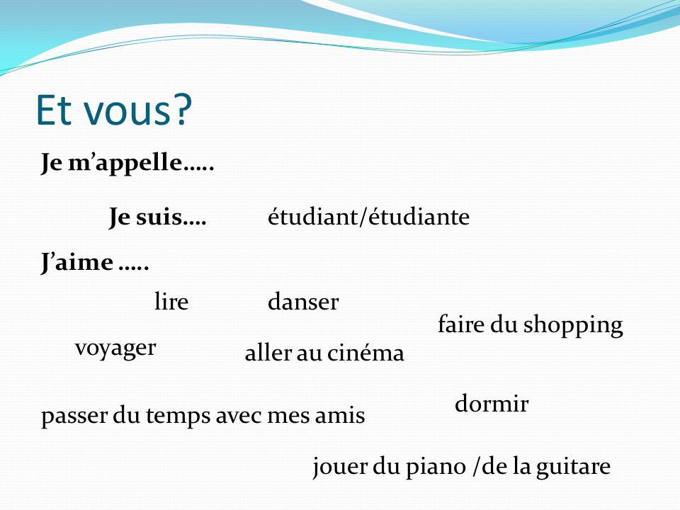Et vous? Je mappelle….. Je suis….étudiant/étudiante Jaime ….. lire voyager passer du temps avec mes amis danser jouer du piano /de la guitare aller au