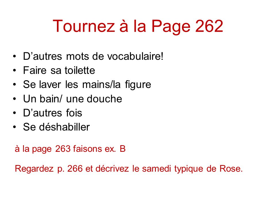 Tournez à la Page 262 Dautres mots de vocabulaire.