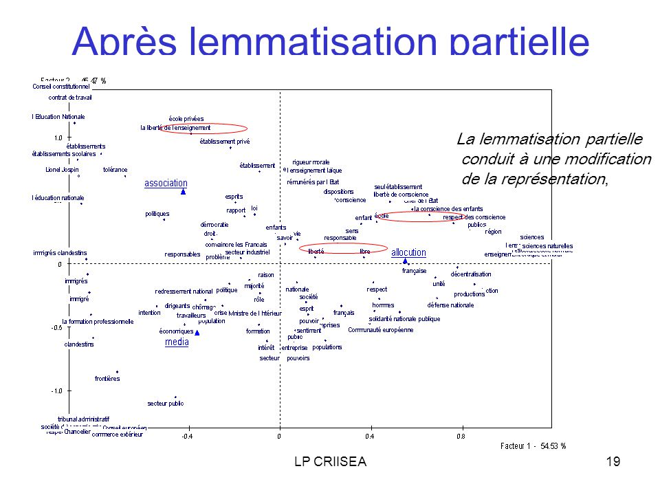 LP CRIISEA19 Après lemmatisation partielle La lemmatisation partielle conduit à une modification de la représentation,
