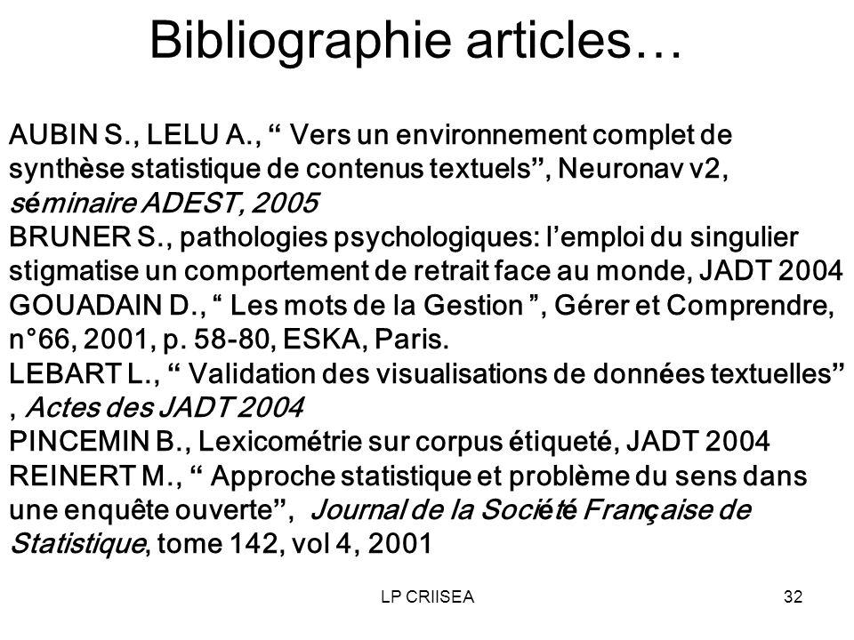 LP CRIISEA32 Bibliographie articles… AUBIN S., LELU A., Vers un environnement complet de synth è se statistique de contenus textuels, Neuronav v2, s é minaire ADEST, 2005 BRUNER S., pathologies psychologiques: lemploi du singulier stigmatise un comportement de retrait face au monde, JADT 2004 GOUADAIN D., Les mots de la Gestion, Gérer et Comprendre, n°66, 2001, p.