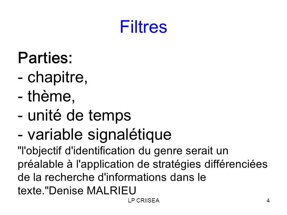 LP CRIISEA4 Filtres Parties: - chapitre, - thème, - unité de temps - variable signalétique l objectif d identification du genre serait un préalable à l application de stratégies différenciées de la recherche d informations dans le texte. Denise MALRIEU