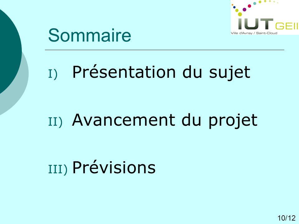 Sommaire I) Présentation du sujet II) Avancement du projet III) Prévisions 10/12