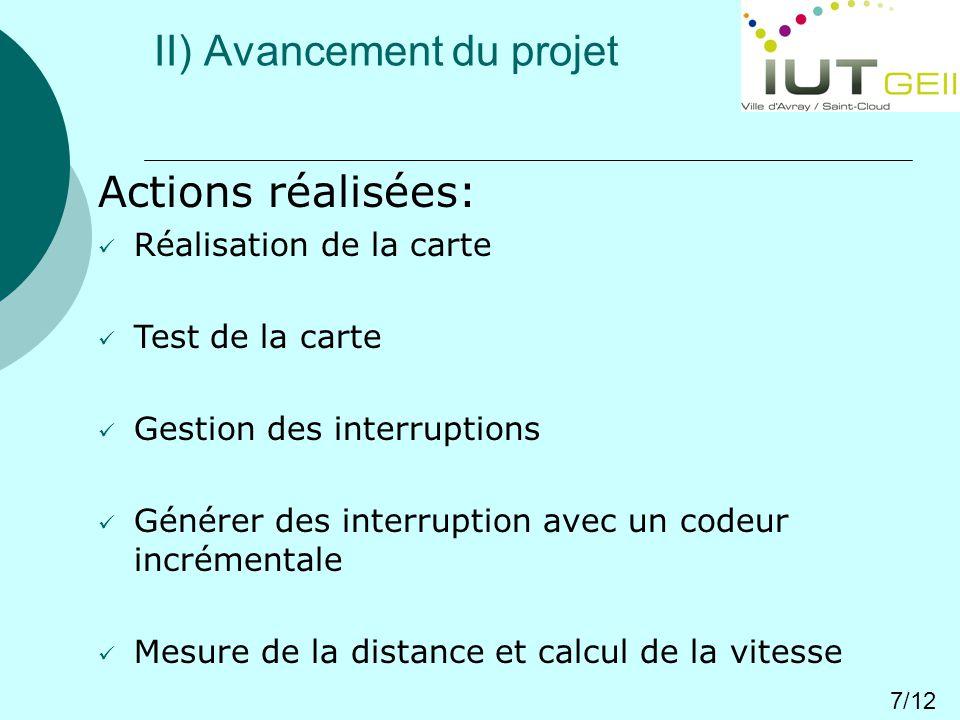 II) Avancement du projet 7/12 Actions réalisées: Réalisation de la carte Test de la carte Gestion des interruptions Générer des interruption avec un codeur incrémentale Mesure de la distance et calcul de la vitesse