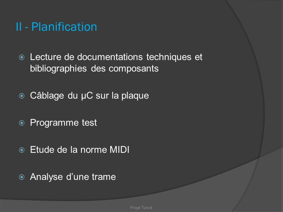 II - Planification Lecture de documentations techniques et bibliographies des composants Câblage du µC sur la plaque Programme test Etude de la norme
