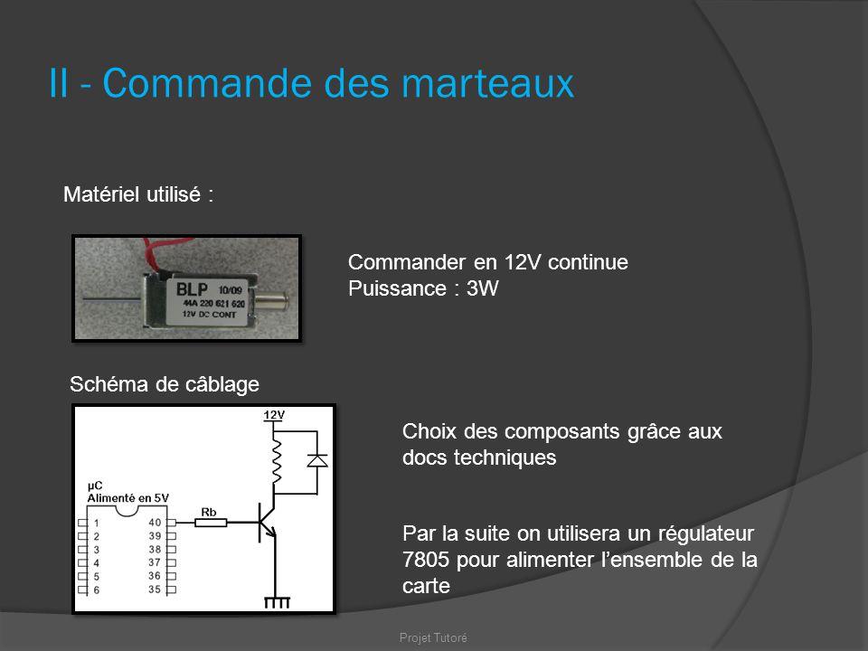II - Commande des marteaux Projet Tutoré Matériel utilisé : Commander en 12V continue Puissance : 3W Schéma de câblage Par la suite on utilisera un ré