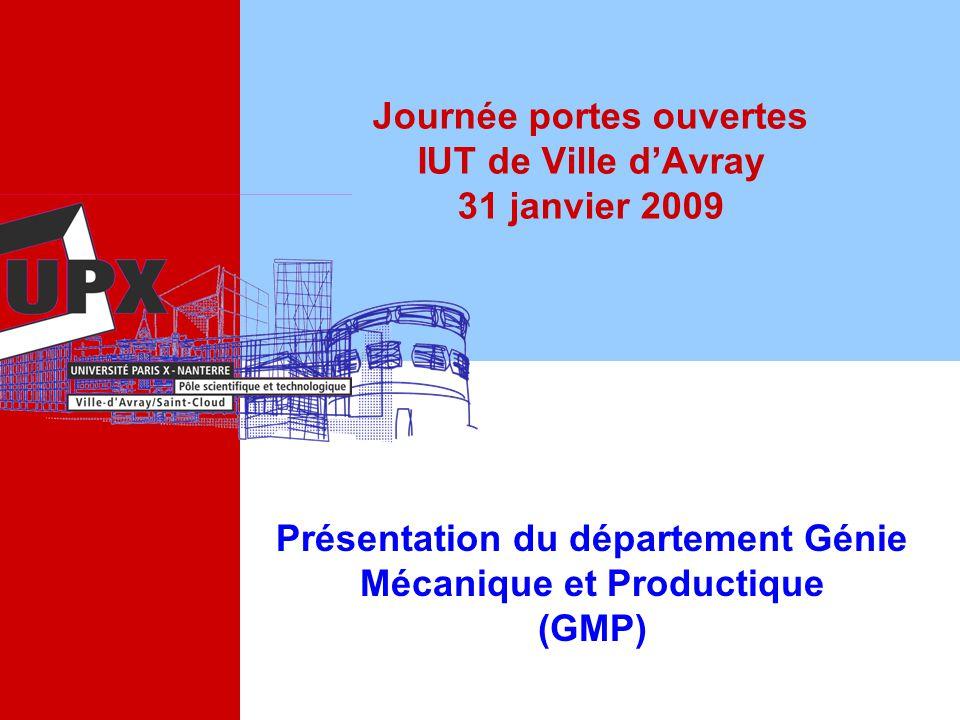 Journée portes ouvertes IUT de Ville dAvray 31 janvier 2009 Présentation du département Génie Mécanique et Productique (GMP)