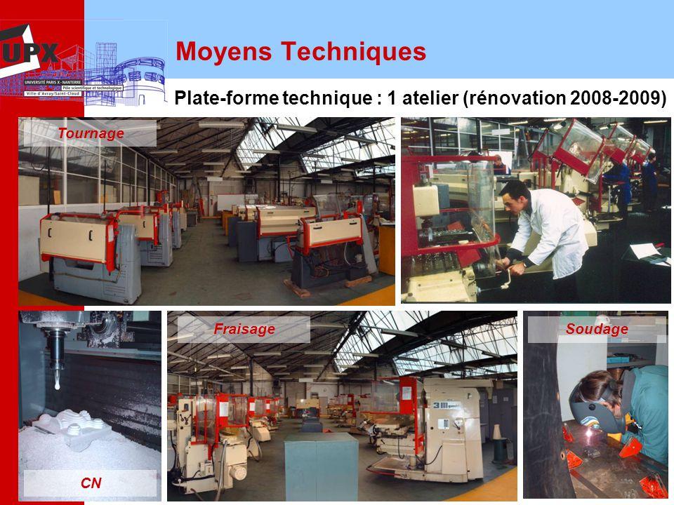 12 Moyens Techniques Plate-forme technique : 1 atelier (rénovation 2008-2009) Tournage Fraisage CN Soudage