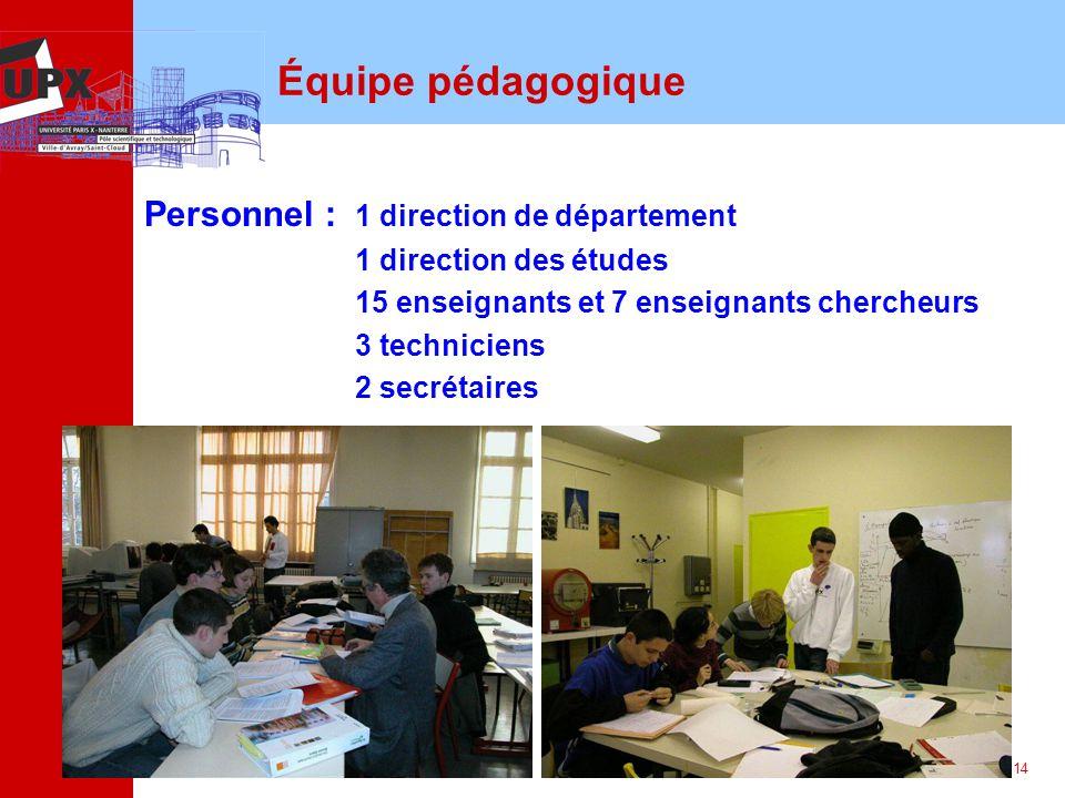 14 Équipe pédagogique Personnel : 1 direction de département 1 direction des études 15 enseignants et 7 enseignants chercheurs 3 techniciens 2 secréta