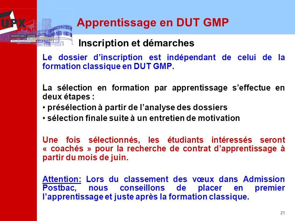 21 Apprentissage en DUT GMP Le dossier dinscription est indépendant de celui de la formation classique en DUT GMP. La sélection en formation par appre