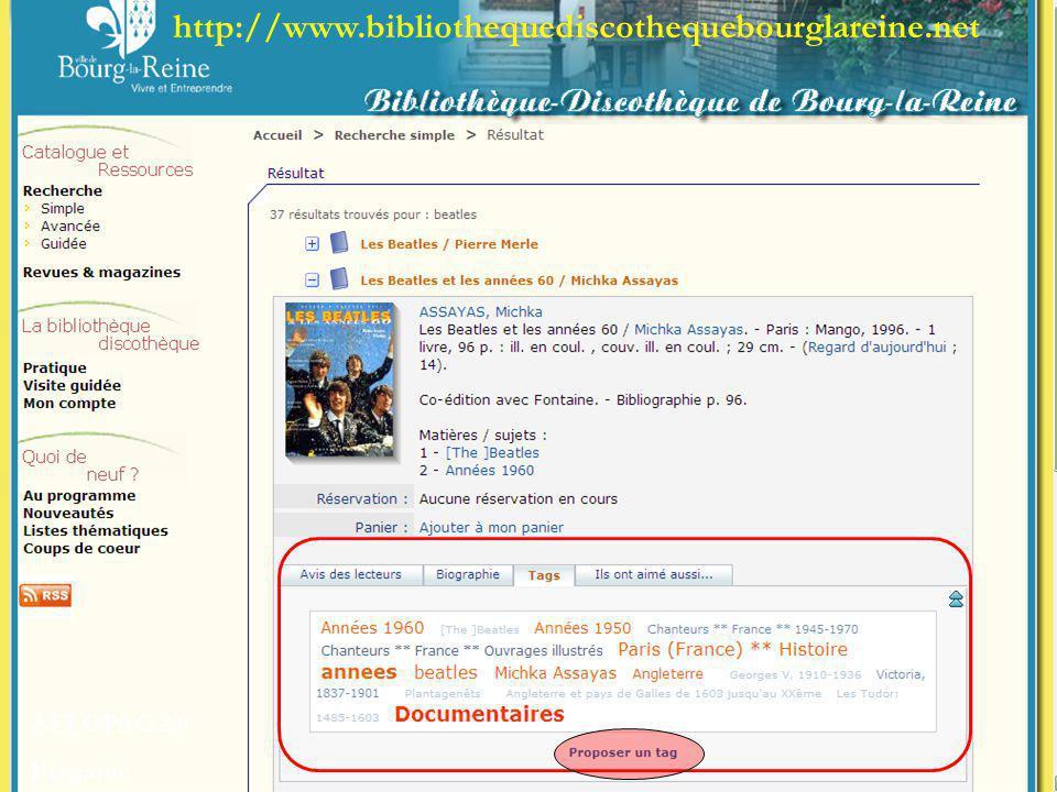 http://www.bibliothequediscothequebourglareine.net AFI OPAC 2.0 Pergame