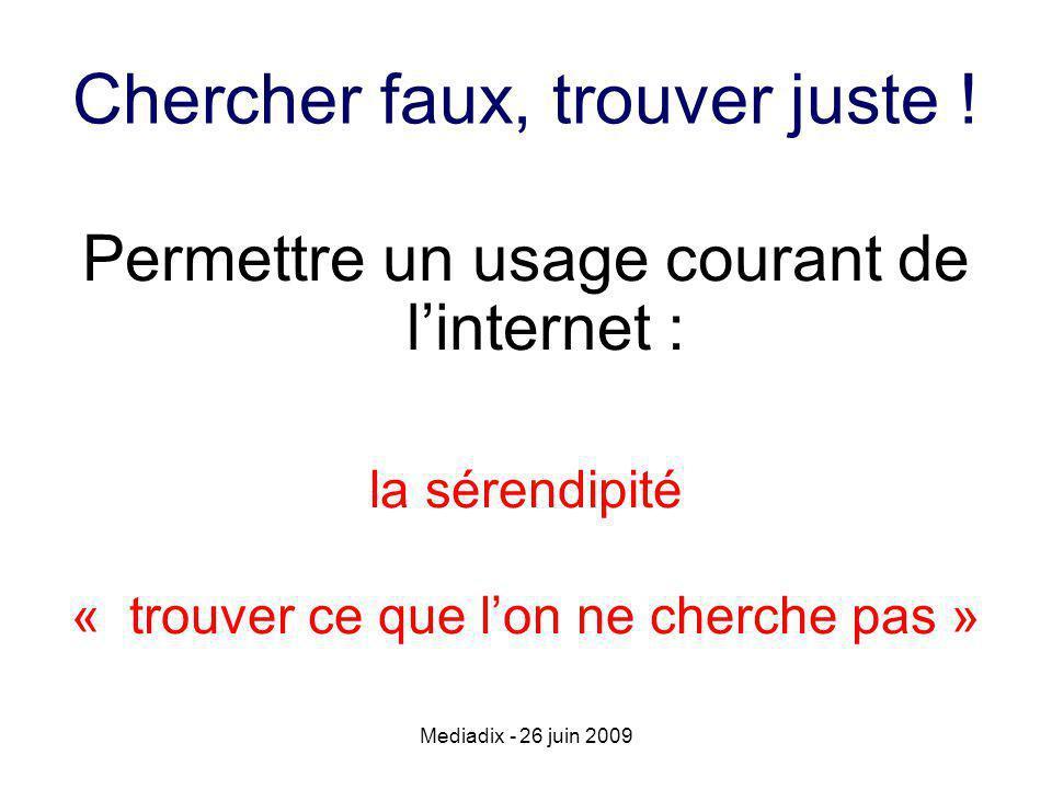 Mediadix - 26 juin 2009 Chercher faux, trouver juste .