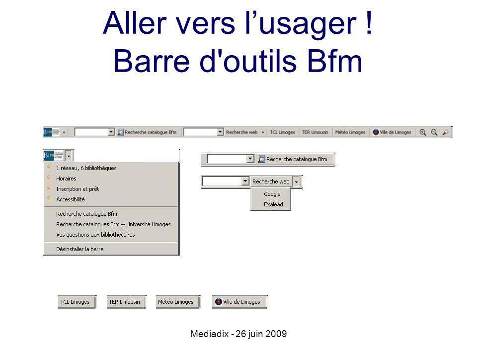 Aller vers lusager ! Barre d'outils Bfm