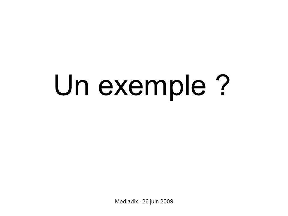 Mediadix - 26 juin 2009 Un exemple ?