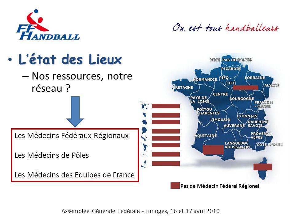 Létat des Lieux Létat des Lieux – Nos ressources, notre réseau ? Assemblée Générale Fédérale - Limoges, 16 et 17 avril 2010 Les Médecins Fédéraux Régi
