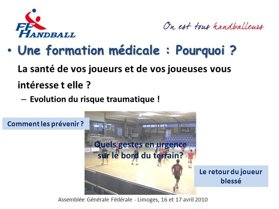 Assemblée Générale Fédérale - Limoges, 16 et 17 avril 2010 AXES GENERAUX \ POPULATIONSCADRES MEDICAUX ET PARA-MEDICAUX HNCADRES TECHNIQUES HNJOUEURS ET JOUEUSES URGENCES Urgences cardio-respiratoires : arrêt cardiaque ; asthme aigu; pertes de connaissance Urgences traumatiques : fractures ouvertes; luxations; traumatismes craniens avec perte de connaissance Urgences en déplacement Techniques des gestes d urgence Conduites à tenir en cas de traumatisme grave Conduite à tenir lors d accident grave en déplacement Gestes d urgence PREVENTION DES RISQUES TRAUMATIQUES Evaluation morpho-statique Evaluation musculaire Evaluation articulaire Neuro-motricité Préparation et récupération musculo-tendineuse Biomécanique du handball Evaluations médico-morphologiques et préparation physique Prévention dans l entraînement Prévention dans l entraînement : vers une autonomie intelligente PREVENTION DES RISQUES PHYSIOLOGIQUES Evaluations physiologiques Suivi physiologique : repérer les dysentraînements Diététique, performance et récupération Rythme de vie et gestion des déplacements Evaluations médico-physiologiques et préparation physique Gestion des facteurs limitant la physiologie de la performance Vie du sportif et performance Prévention des dérives Quand ?Réunions médicales fédérales Stages équipes, réunions DTN, Rencontres médico-techniques (CTF, CTS, Pôles…) Stages Communications Par qui .
