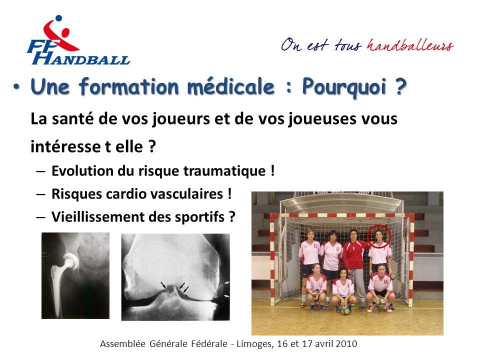 Une formation médicale : Pourquoi ? Une formation médicale : Pourquoi ? La santé de vos joueurs et de vos joueuses vous intéresse t elle ? – Evolution