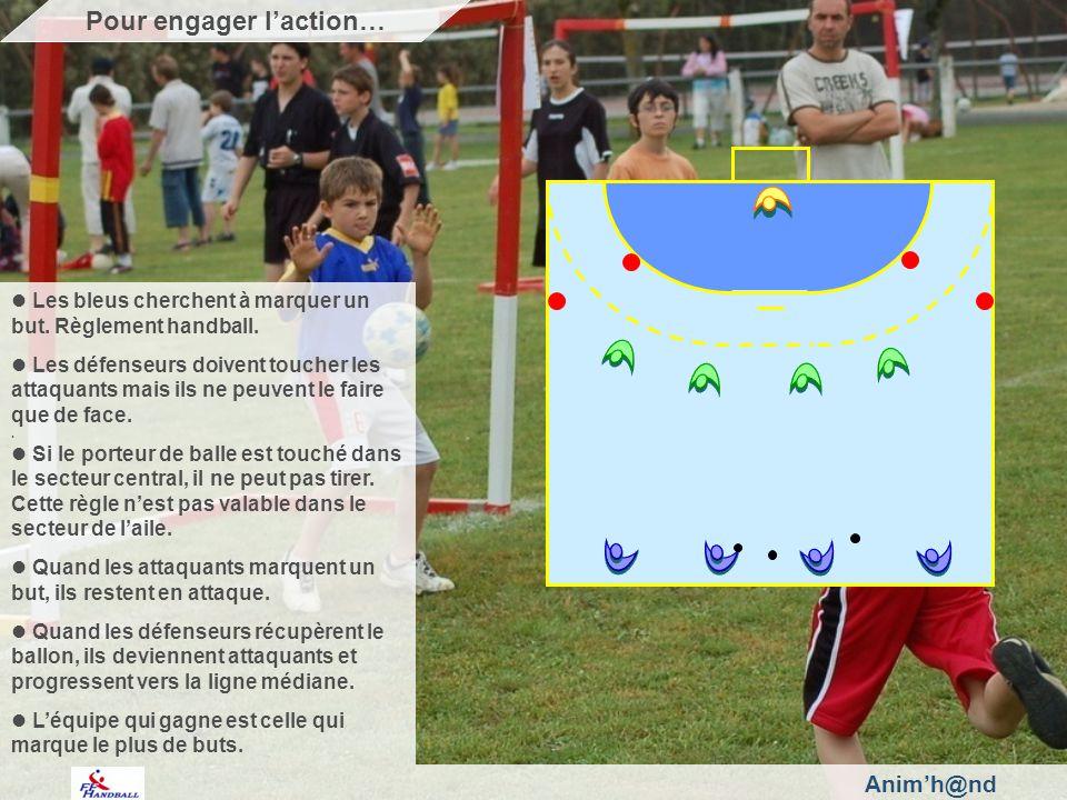 Animh@nd Les bleus cherchent à marquer un but.Règlement handball.