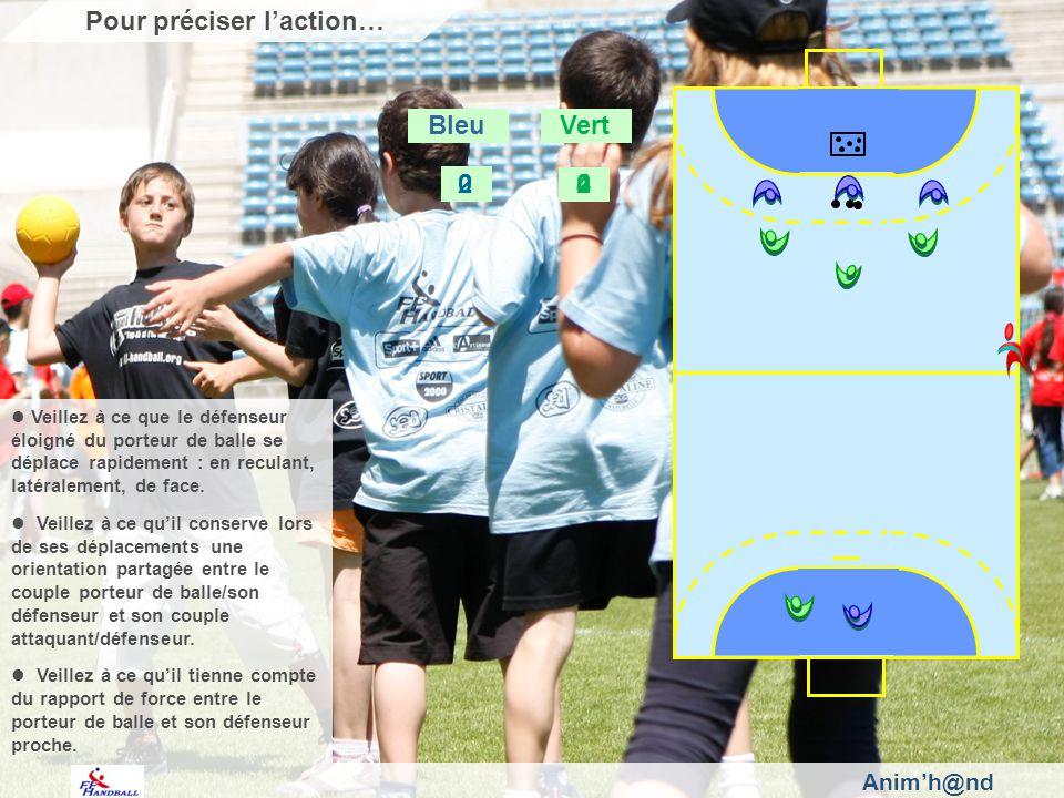 Animh@nd Pour préciser laction… Bleu Vert 2 0 2 4 0 Veillez à ce que le défenseur éloigné du porteur de balle se déplace rapidement : en reculant, latéralement, de face.