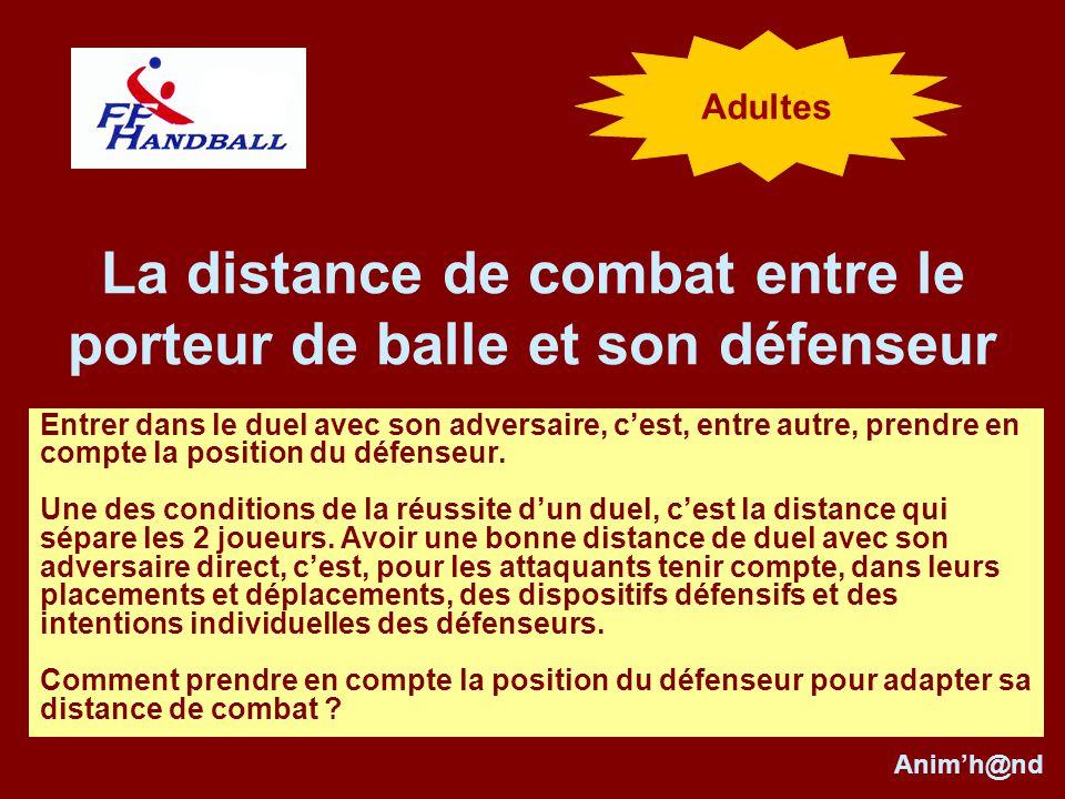 La distance de combat entre le porteur de balle et son défenseur Entrer dans le duel avec son adversaire, cest, entre autre, prendre en compte la position du défenseur.