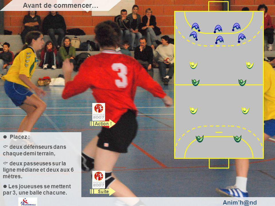 Animh@nd Placez : deux défenseurs dans chaque demi terrain, deux passeuses sur la ligne médiane et deux aux 6 mètres.