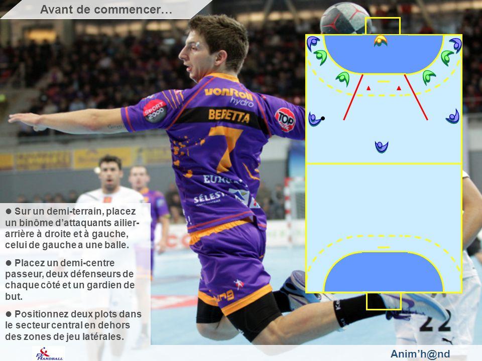 Animh@nd Sur un demi-terrain, placez un binôme dattaquants ailier- arrière à droite et à gauche, celui de gauche a une balle.