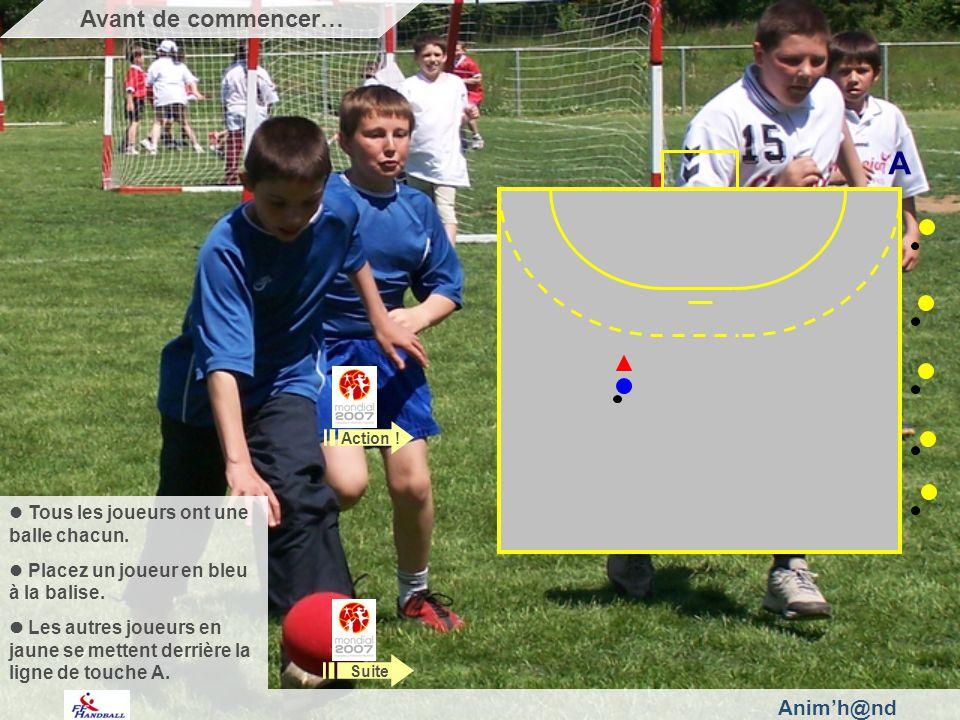 Animh@nd Tous les joueurs ont une balle chacun. Placez un joueur en bleu à la balise.
