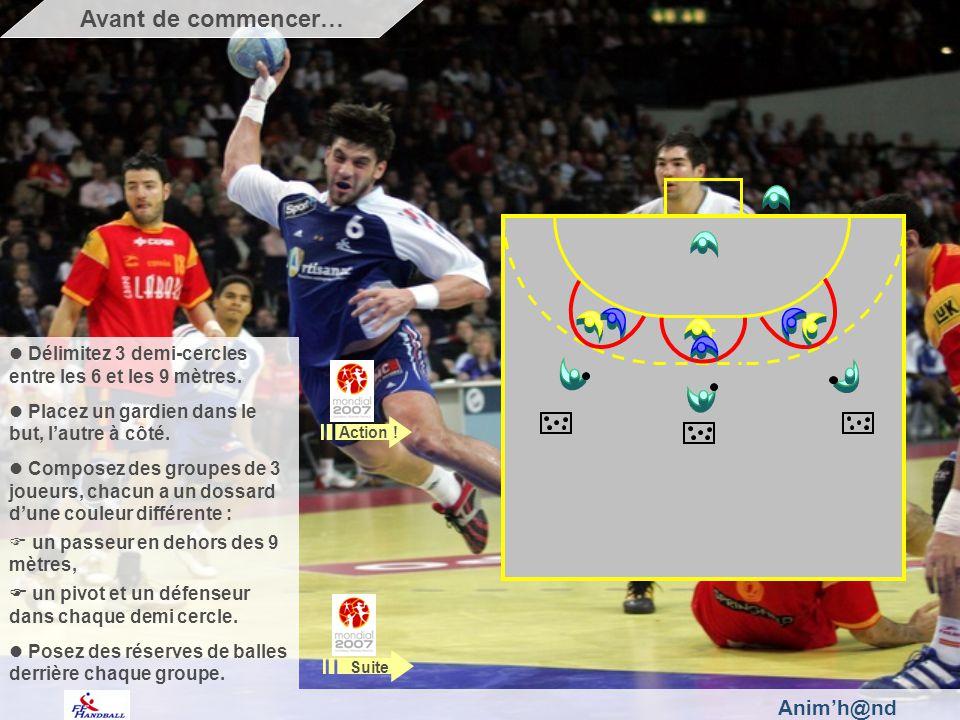 Animh@nd Délimitez 3 demi-cercles entre les 6 et les 9 mètres. Placez un gardien dans le but, lautre à côté. Composez des groupes de 3 joueurs, chacun