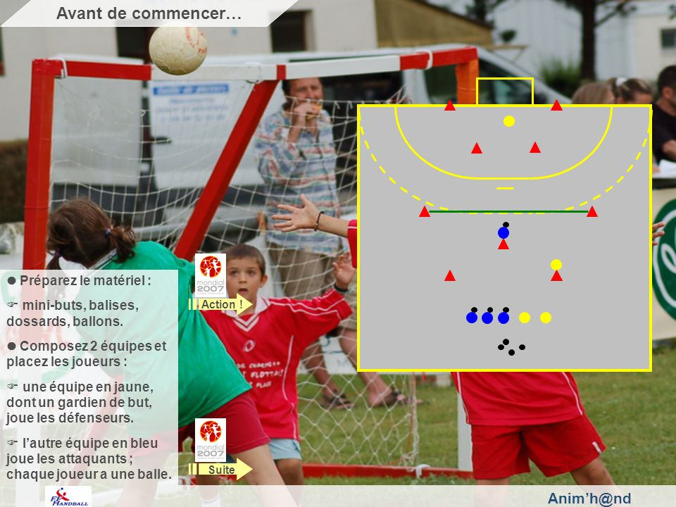 Animh@nd Préparez le matériel : mini-buts, balises, dossards, ballons. Composez 2 équipes et placez les joueurs : une équipe en jaune, dont un gardien