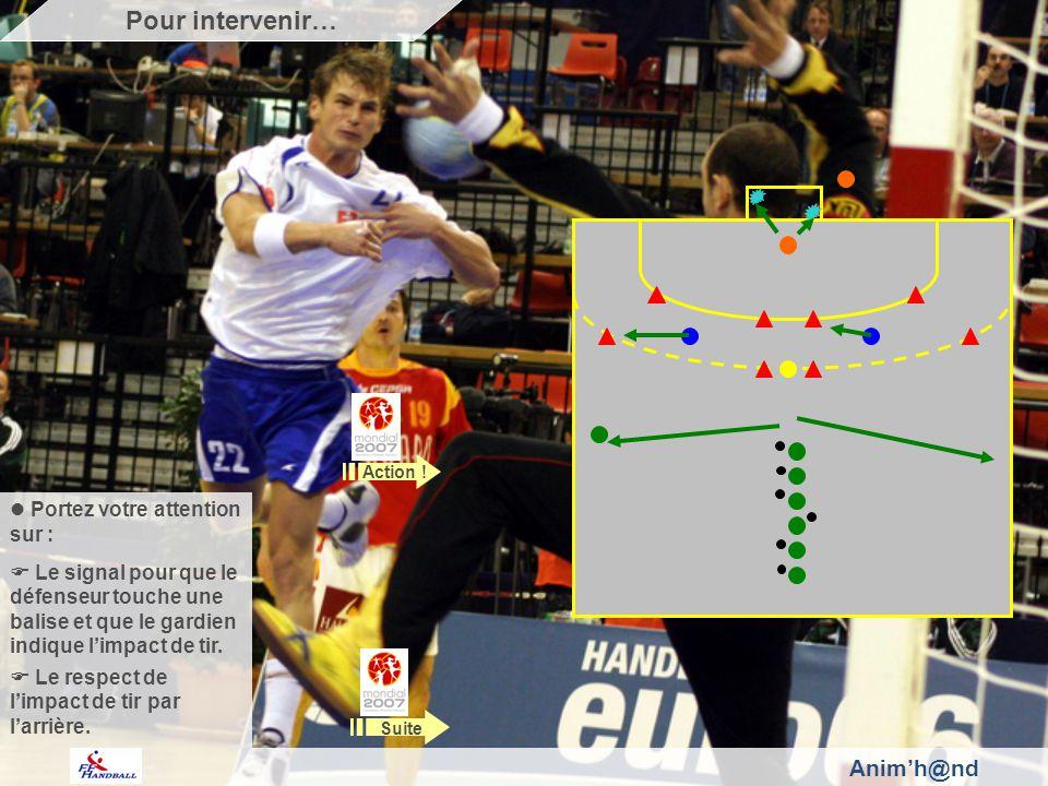 Portez votre attention sur : Le signal pour que le défenseur touche une balise et que le gardien indique limpact de tir. Le respect de limpact de tir
