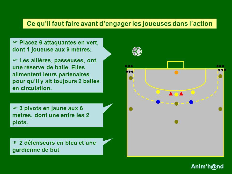 Placez 6 attaquantes en vert, dont 1 joueuse aux 9 mètres. Les ailières, passeuses, ont une réserve de balle. Elles alimentent leurs partenaires pour
