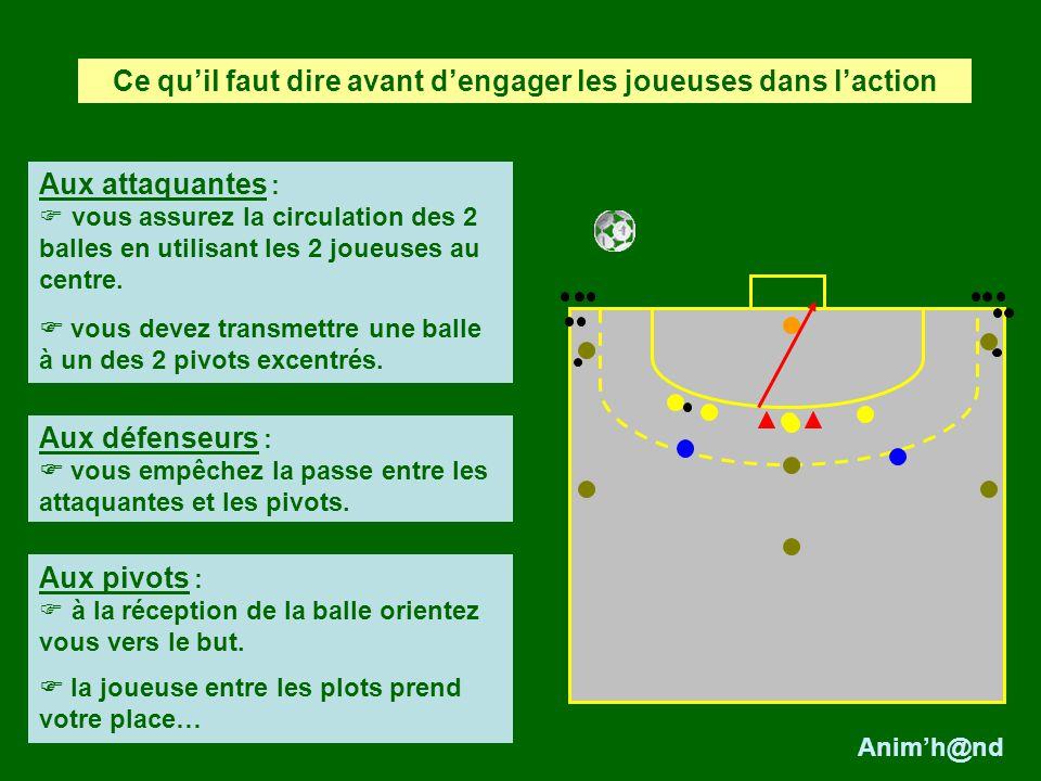 Aux attaquantes : vous assurez la circulation des 2 balles en utilisant les 2 joueuses au centre. vous devez transmettre une balle à un des 2 pivots e