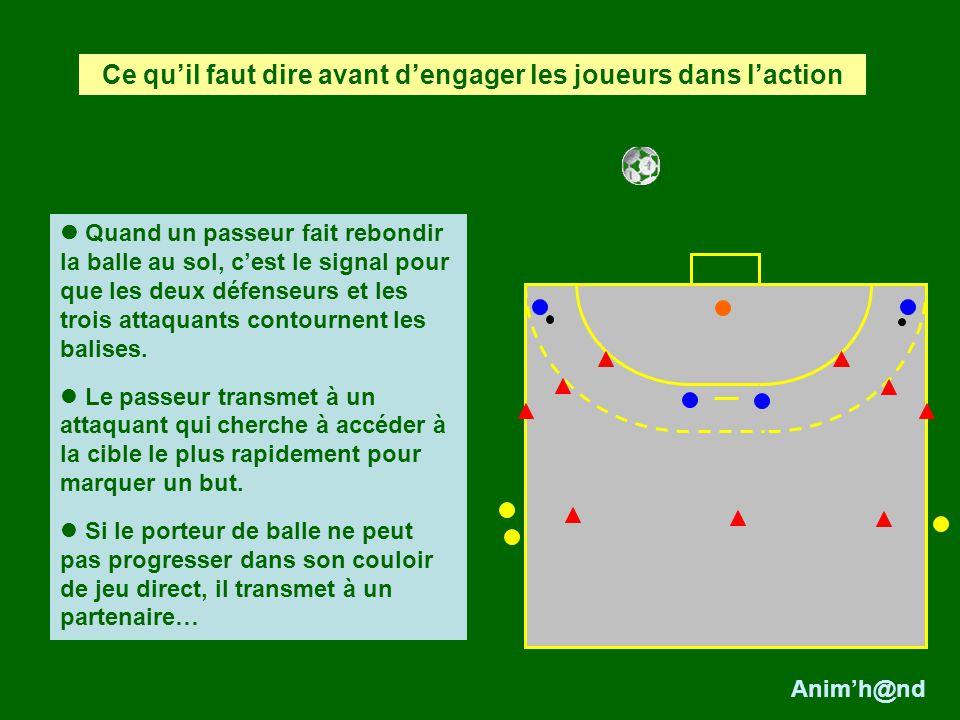 Quand un passeur fait rebondir la balle au sol, cest le signal pour que les deux défenseurs et les trois attaquants contournent les balises.