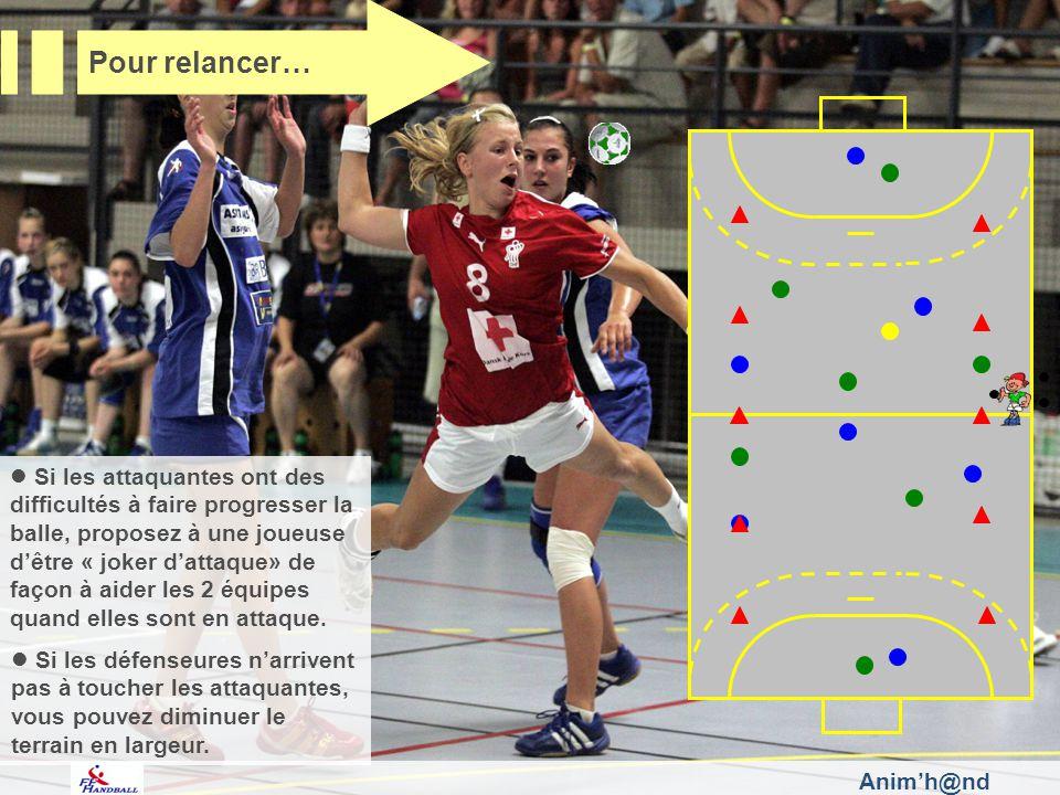Si les attaquantes ont des difficultés à faire progresser la balle, proposez à une joueuse dêtre « joker dattaque» de façon à aider les 2 équipes quan