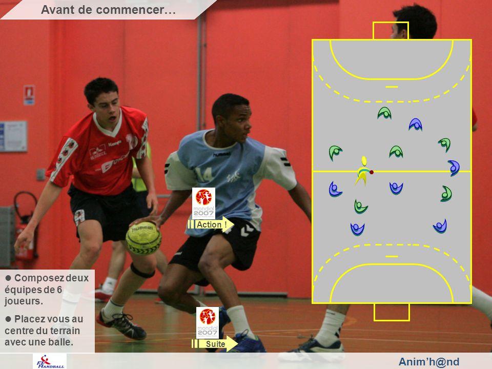 Animh@nd Composez deux équipes de 6 joueurs. Placez vous au centre du terrain avec une balle.