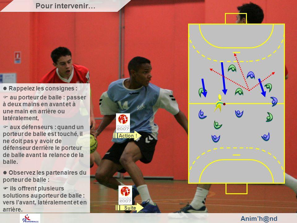 Animh@nd Rappelez les consignes : au porteur de balle : passer à deux mains en avant et à une main en arrière ou latéralement, aux défenseurs : quand un porteur de balle est touché, il ne doit pas y avoir de défenseur derrière le porteur de balle avant la relance de la balle.