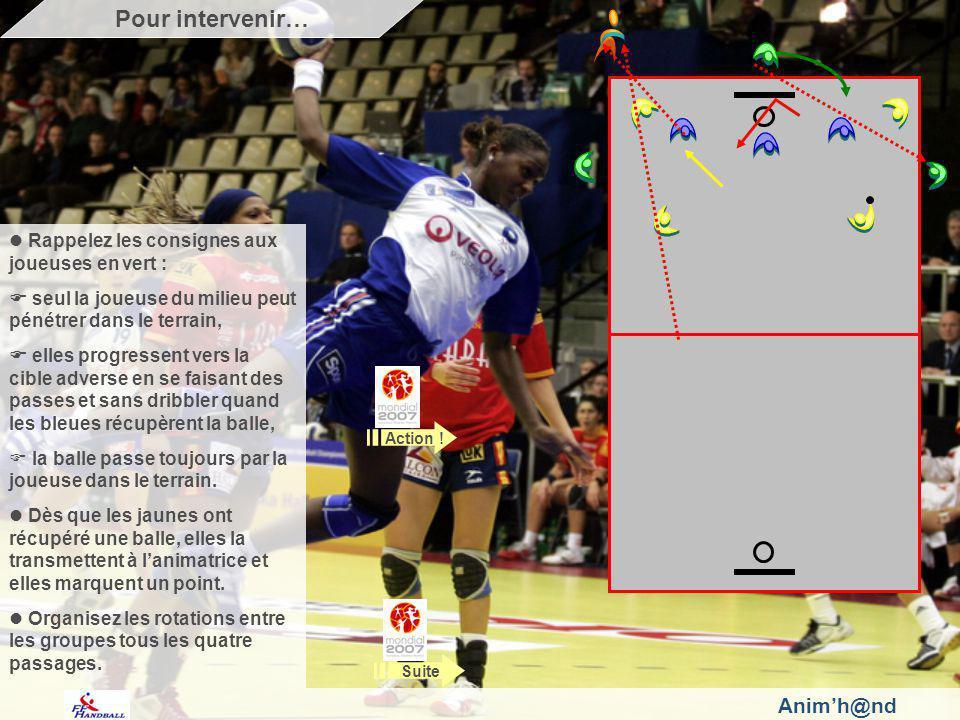 Animh@nd Rappelez les consignes aux joueuses en vert : seul la joueuse du milieu peut pénétrer dans le terrain, elles progressent vers la cible adverse en se faisant des passes et sans dribbler quand les bleues récupèrent la balle, la balle passe toujours par la joueuse dans le terrain.
