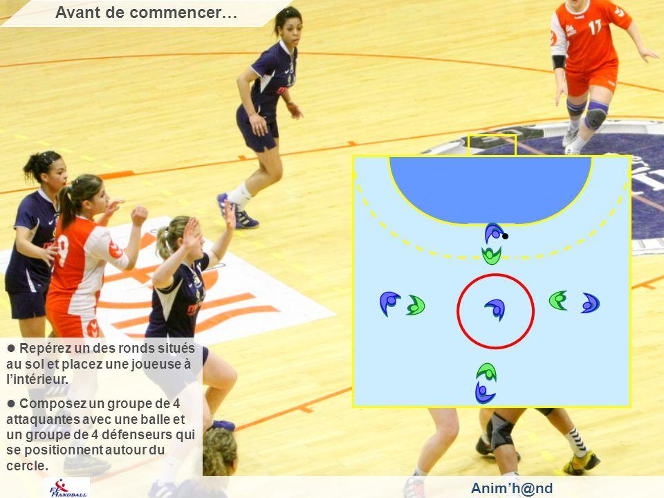 Animh@nd Repérez un des ronds situés au sol et placez une joueuse à lintérieur. Composez un groupe de 4 attaquantes avec une balle et un groupe de 4 d