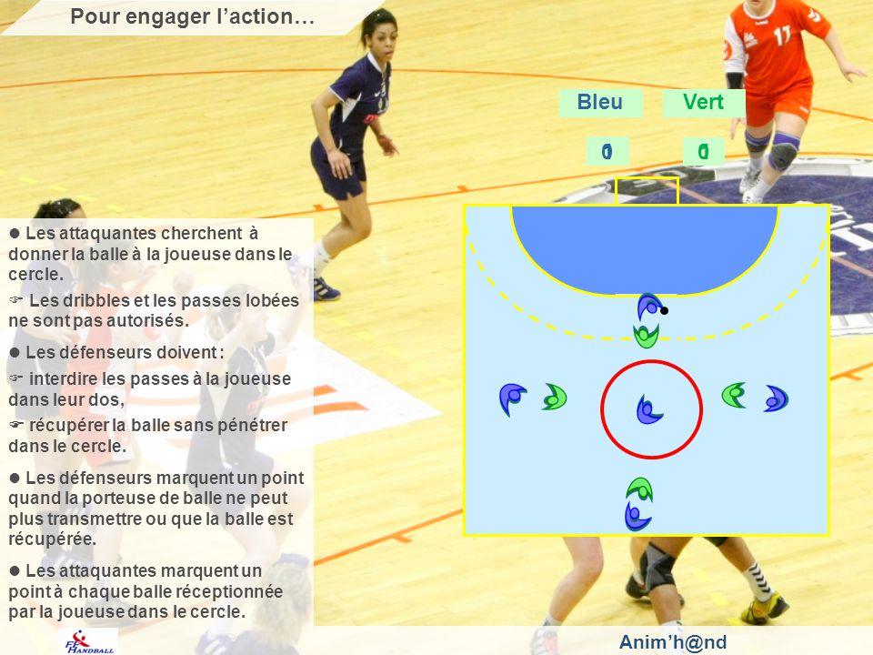 Animh@nd Les attaquantes cherchent à donner la balle à la joueuse dans le cercle. Les dribbles et les passes lobées ne sont pas autorisés. Les défense