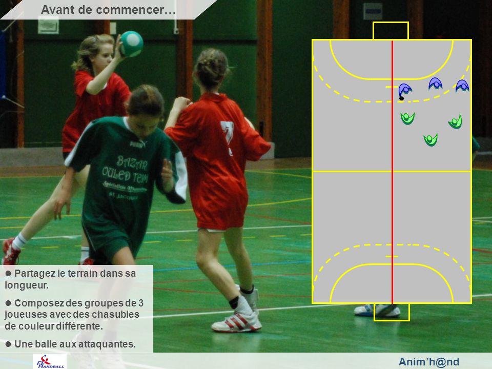 Animh@nd Partagez le terrain dans sa longueur. Composez des groupes de 3 joueuses avec des chasubles de couleur différente. Une balle aux attaquantes.