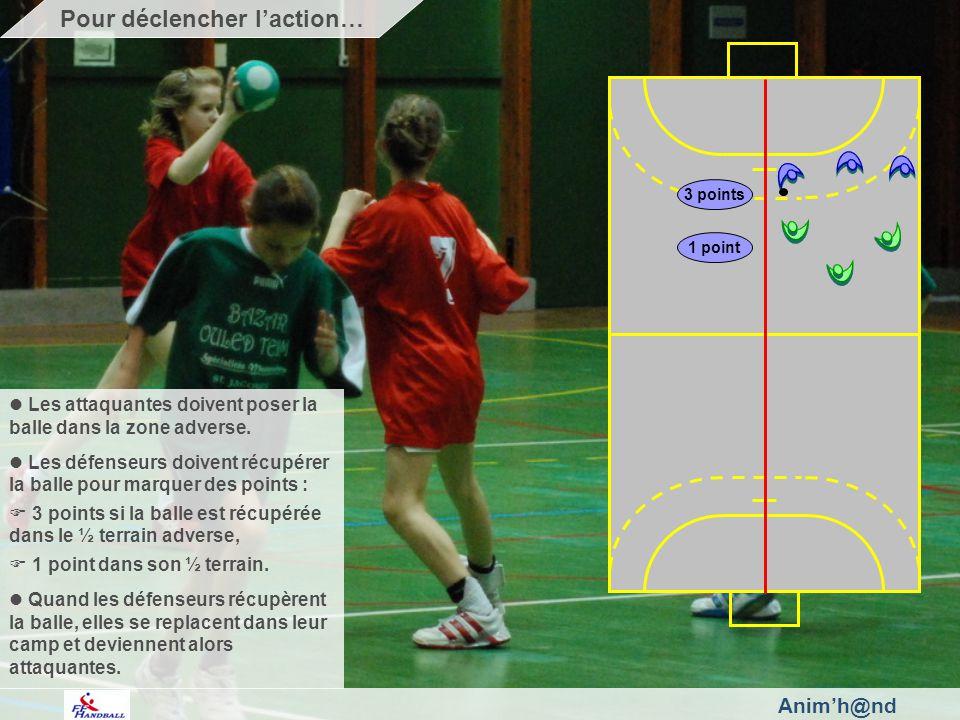 Animh@nd Les attaquantes doivent poser la balle dans la zone adverse. Les défenseurs doivent récupérer la balle pour marquer des points : 3 points si