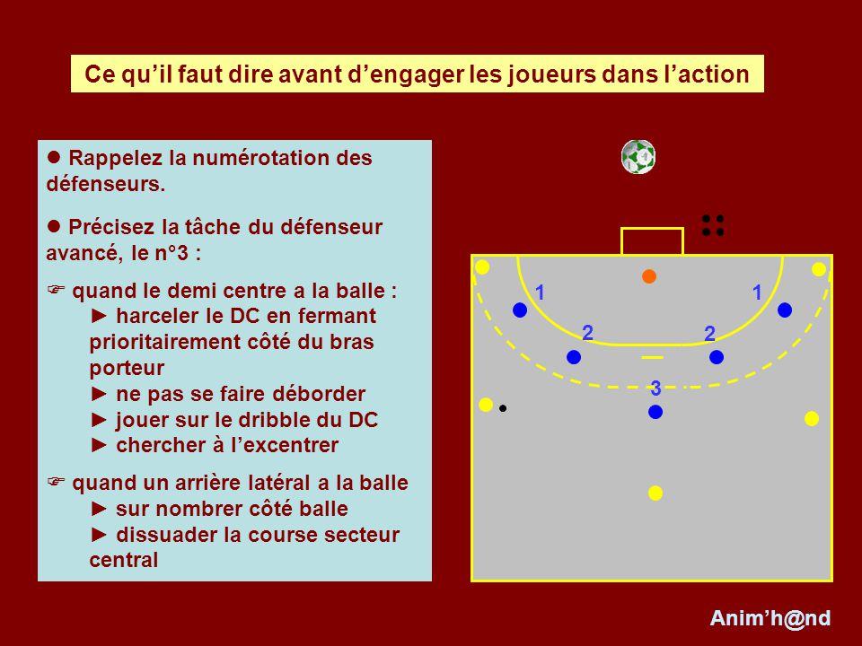 Rappelez la numérotation des défenseurs. Précisez la tâche du défenseur avancé, le n°3 : quand le demi centre a la balle : harceler le DC en fermant p