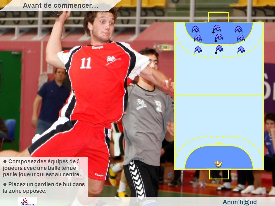 Animh@nd Composez des équipes de 3 joueurs avec une balle tenue par le joueur qui est au centre.