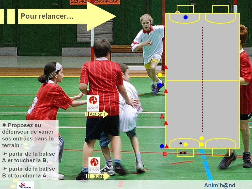 Animh@nd Pour relancer… Proposez au défenseur de varier ses entrées dans le terrain : partir de la balise A et toucher la B, partir de la balise B et toucher la A… Suite A B Action !