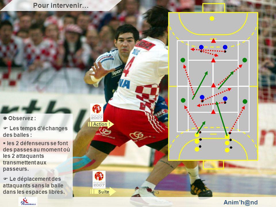 Observez : Les temps déchanges des balles : les 2 défenseurs se font des passes au moment où les 2 attaquants transmettent aux passeurs.