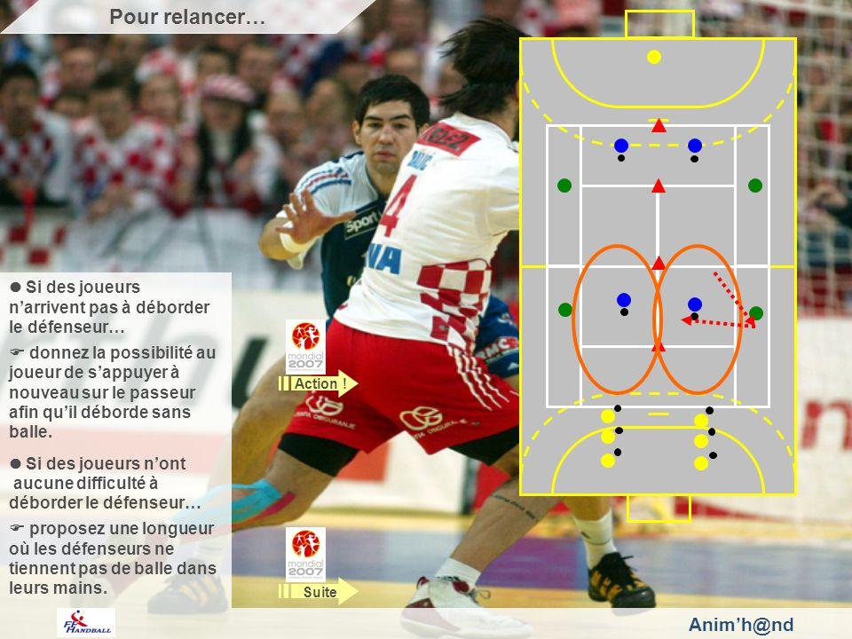 Si des joueurs narrivent pas à déborder le défenseur… donnez la possibilité au joueur de sappuyer à nouveau sur le passeur afin quil déborde sans balle.