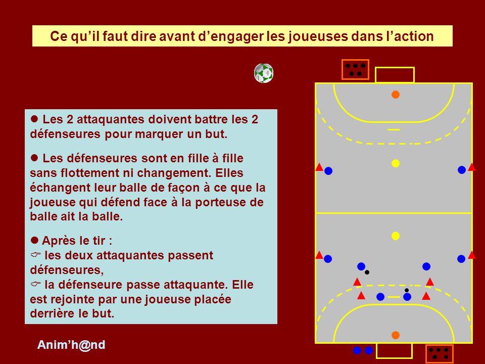 La gardienne transmet à la joueuse qui nest pas directement concernée par le duel porteuse de balle / défenseure.