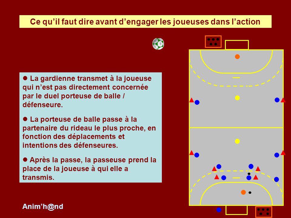 Lactivité des défenseures : elles sont en fille à fille sans flottement ni changement, elles échangent la balle pour que celle qui défend face à la porteuse de balle ait la balle.
