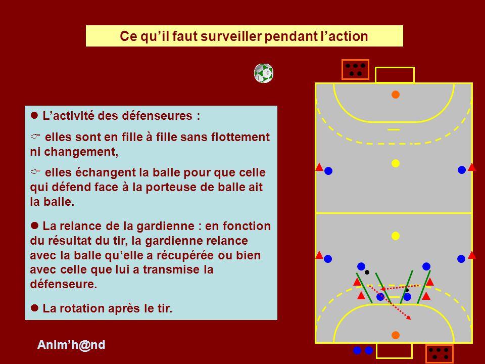 Les courses des attaquantes : course dengagement pour appeler la balle, course de dégagement pour assurer lécartement, létagement et le replacement.