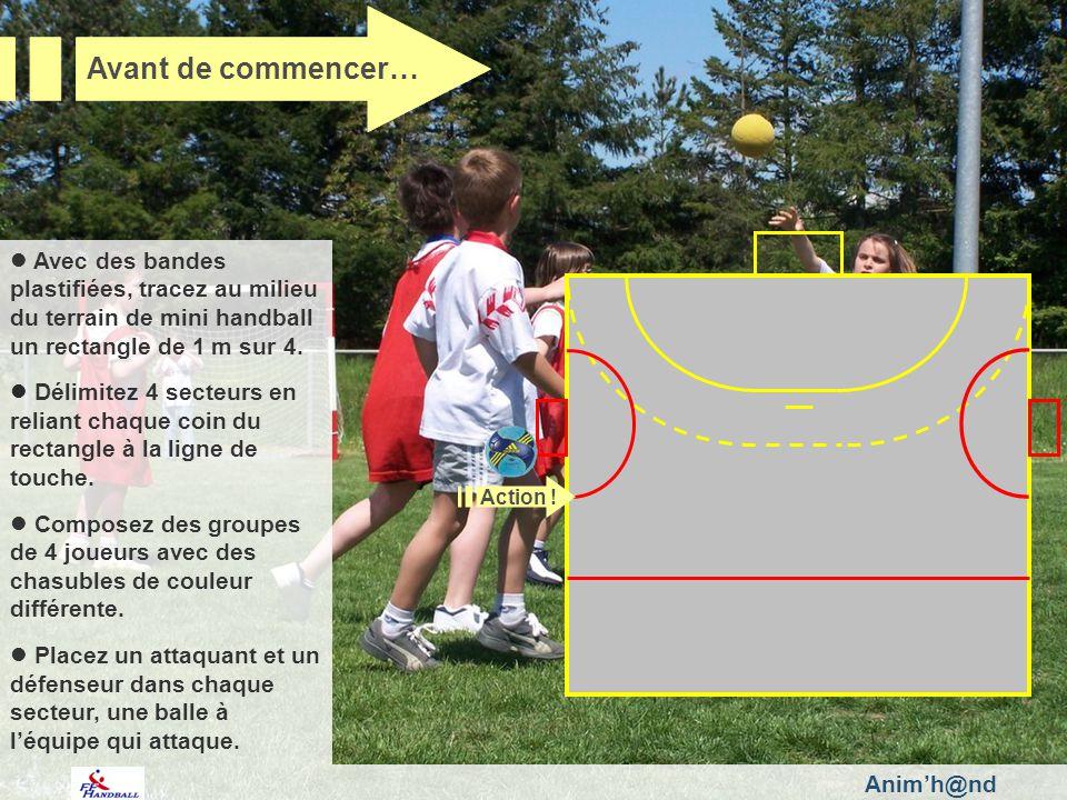 Animh@nd Avec des bandes plastifiées, tracez au milieu du terrain de mini handball un rectangle de 1 m sur 4 m.